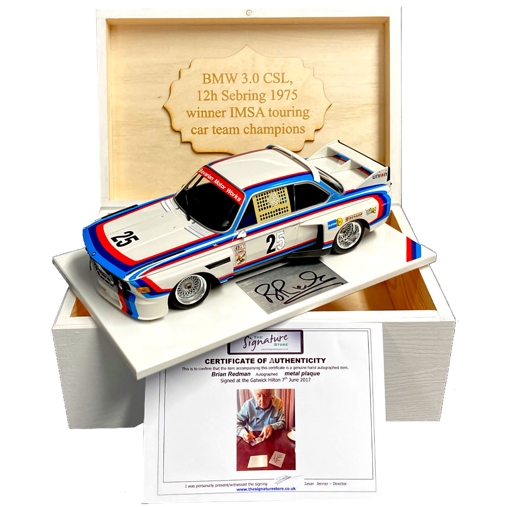 Product image for Boxed 1:18 BMW 3.0L CSL, signed Brian Redman