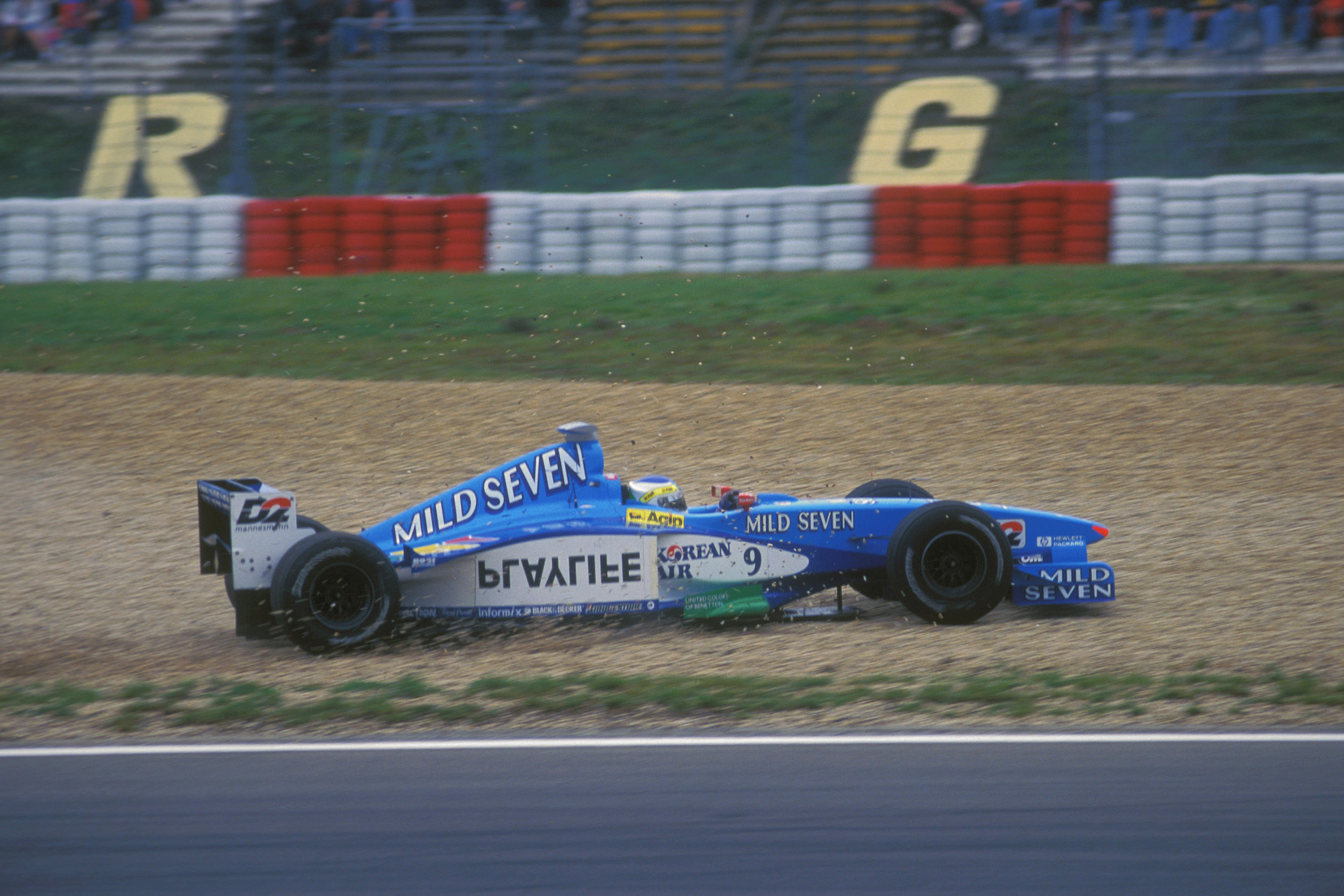Giancarlo Fisichella running off the track at the 1999 European Grand Prix at the Nurburgring