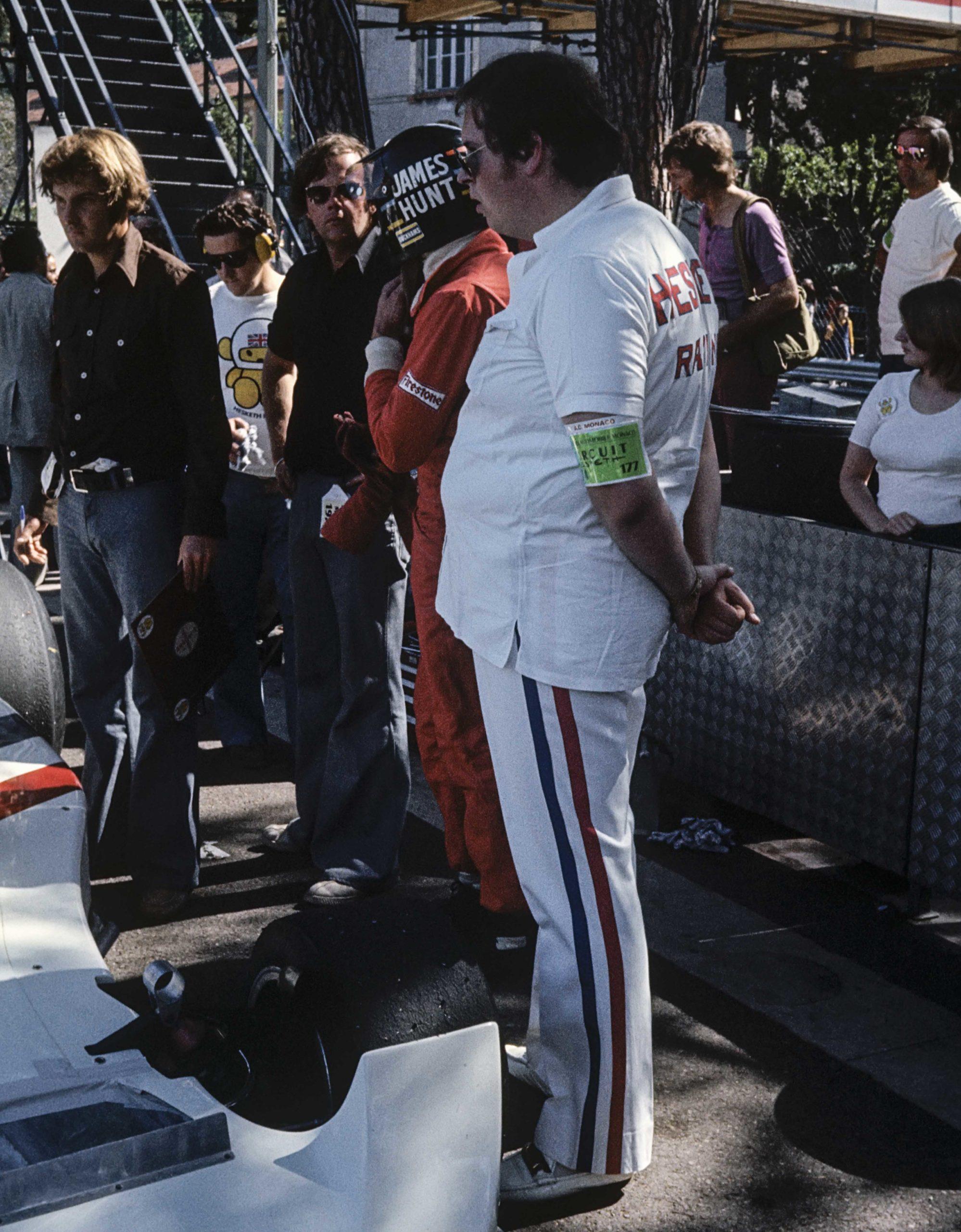 James Hunt, Lord Hesketh, Harvey Postlethwaite, Bubbles Horsley, Grand Prix Of Monaco