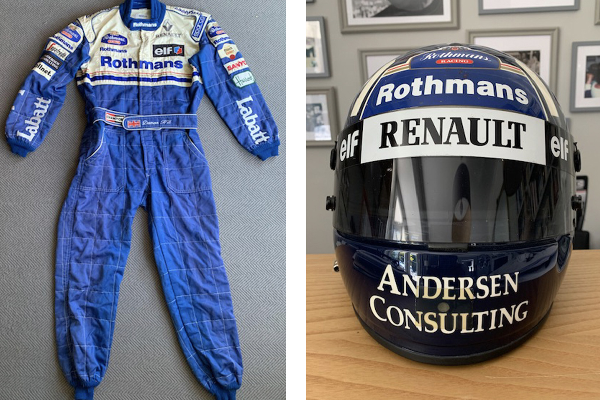 Damon Hill overalls and helmet auctioned on June 24