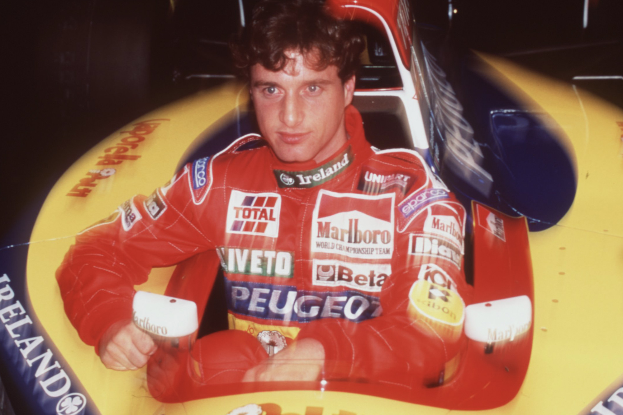 Eddie Irvine at the launch of the 1995 Jordan