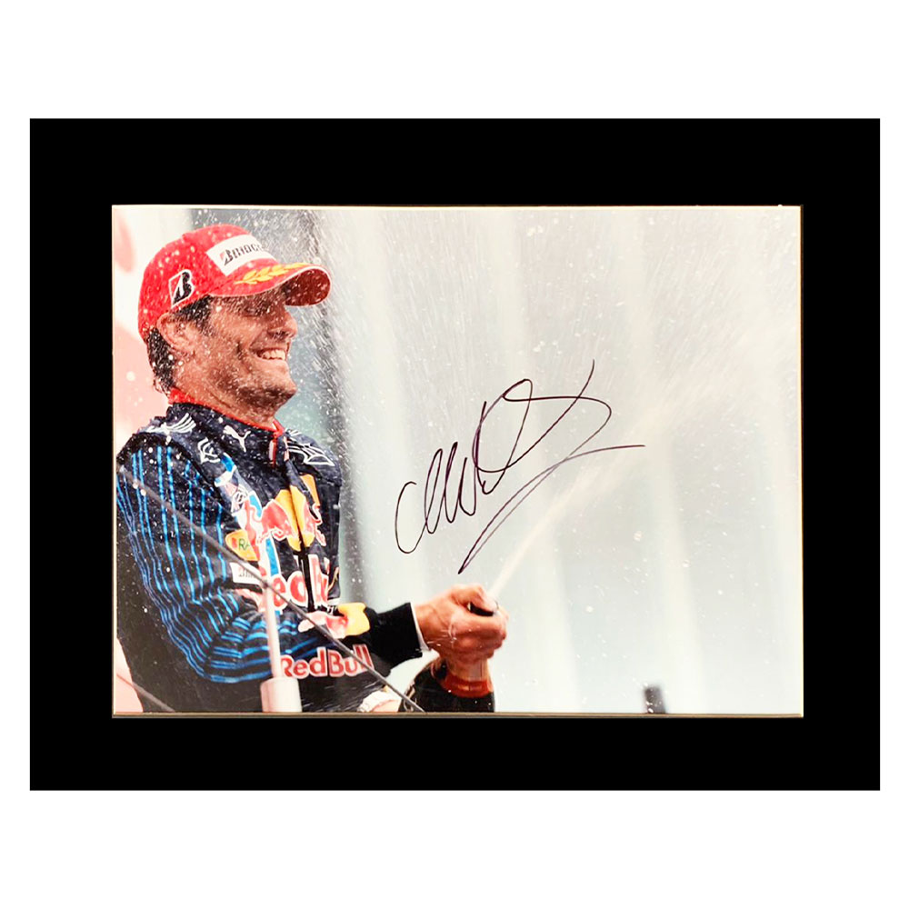 Product image for Signed Mark Webber Photo Display | Formula 1 Icon Autograph