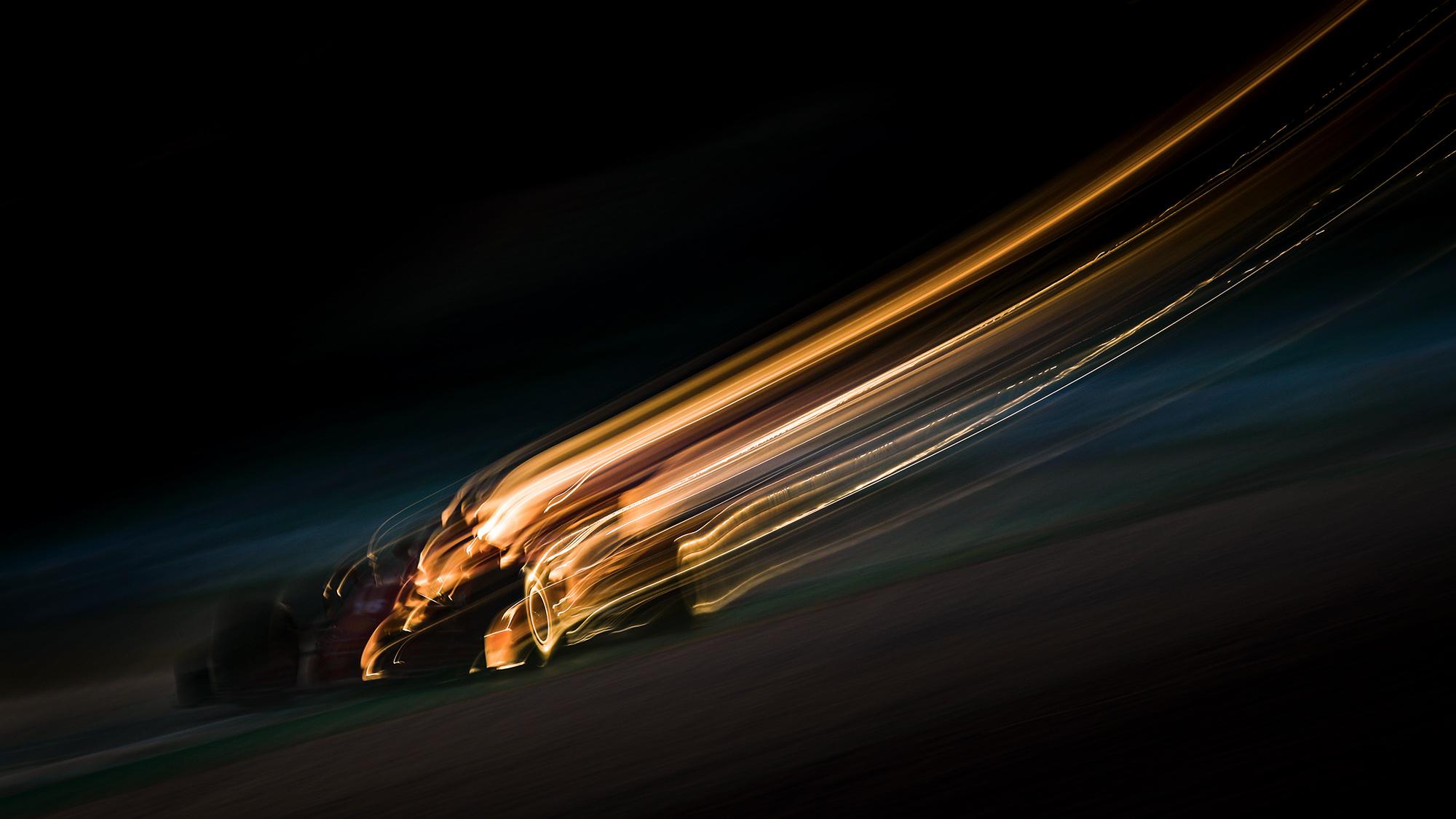 Blurred image of Charles Leclercs Ferrari during 2020 Formula 1 preseason testing