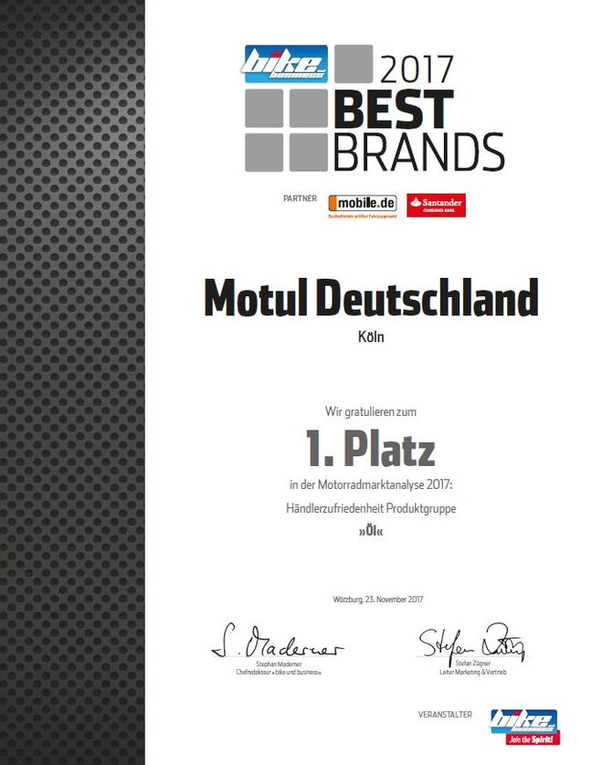 Motul als Sieger in der Kategorie Öl beim Bike and Business Award 2017