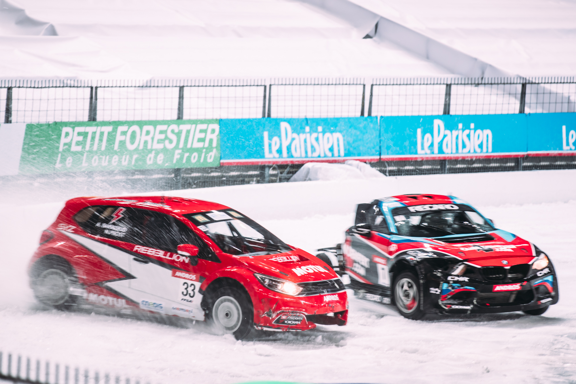 Electric powered cars beat petrol cars at the Stade de France