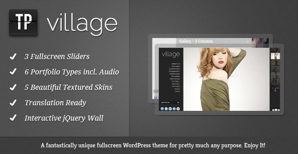 Village - Template WordPress plein écran