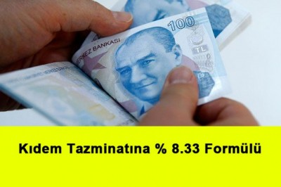 Kıdem Tazminatına % 8.33 Formülü