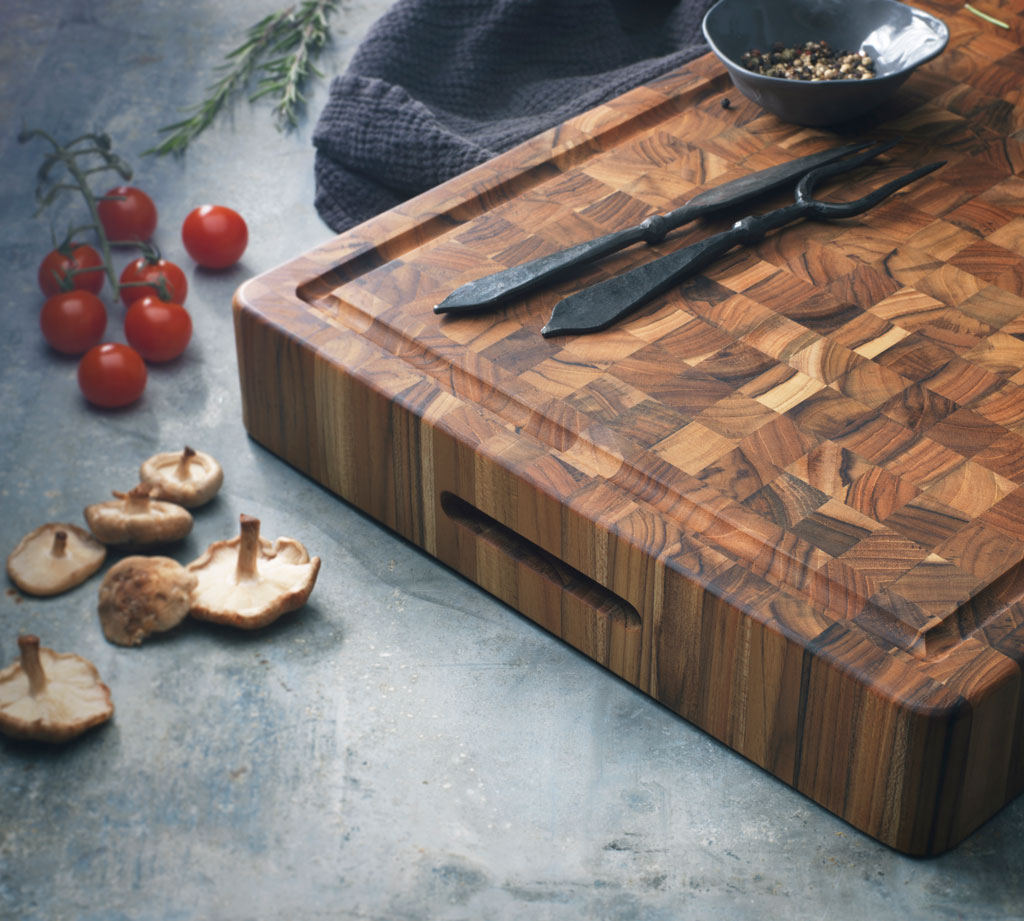 Teakhaus By Proteak End Grain Butcher Block With Hand Grips 51x38xh3 8cm Muller Kitchen And Tableware