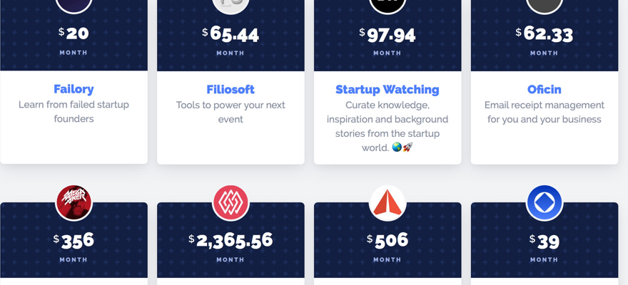 Homepage of www.startupcosts.co showing some of the open startups
