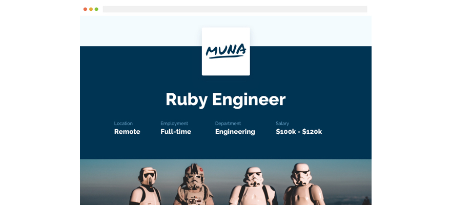 Muna Recruiment lets you create beautiful recruitment pages to attract the best web people