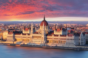 Sunrise over Parliament building, Budapest