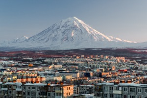 Petropavlovsk-Kamchatsky skyline and volcano