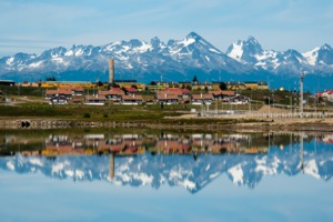 Ushuaia, Argentina, reflected in the water