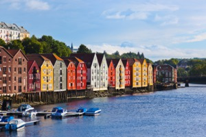 Waterfront buildings in Trondheim, Norway