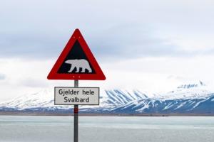 Polar bear warning sign, Svalbard