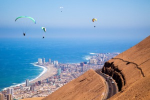 Paragliders over Iquique, Chile