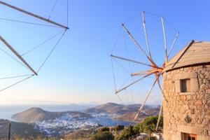 Windmills on Patmos, Greece