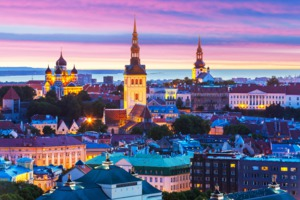 Tallinn old town by night, Estonia