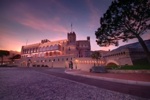 Sunset over the Prince's Palace, Monaco
