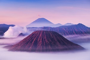 Bromo, Batok and Semeru volcanoes, Java