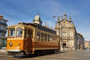 Historic tram in Porto, Portugal