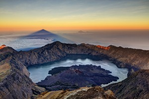 Sunrise over Mount Rinjani on Lombok, Indonesia