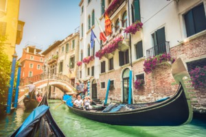 Gondola ride through Venice