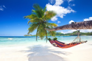 Hammock on the beach in Mahé, Seychelles
