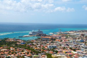 Aerial view of Oranjestad