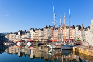Boats in the harbour at Honfleur, France