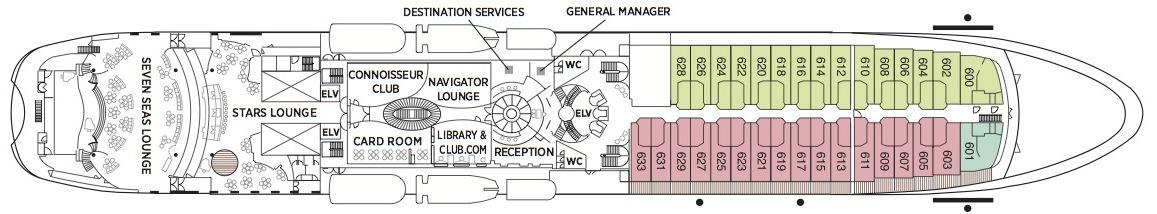 Regent Seven Seas Navigator deck plans - Deck 6