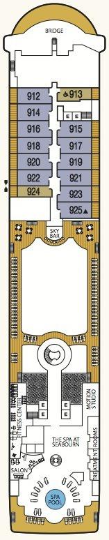 Seabourn Odyssey, Sojourn & Quest deck plans - Deck 9
