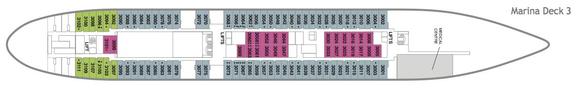 Fred. Olsen - Boudicca deck plans: Marina Deck 3