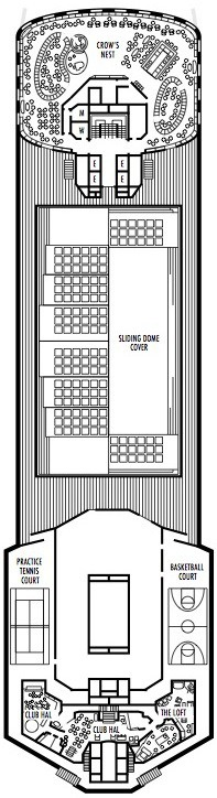 Holland America Line - MS Veendam deck plans - Deck 12 (Sports Deck)