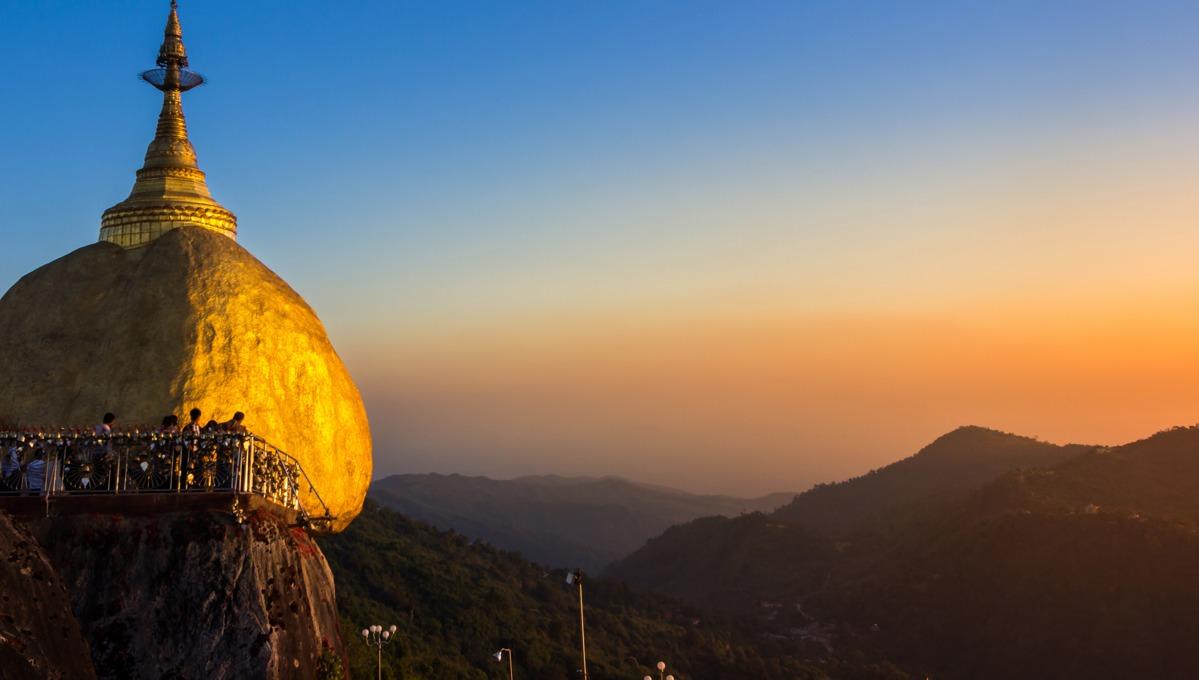 Myanmar cruises - Golden Rock at dusk