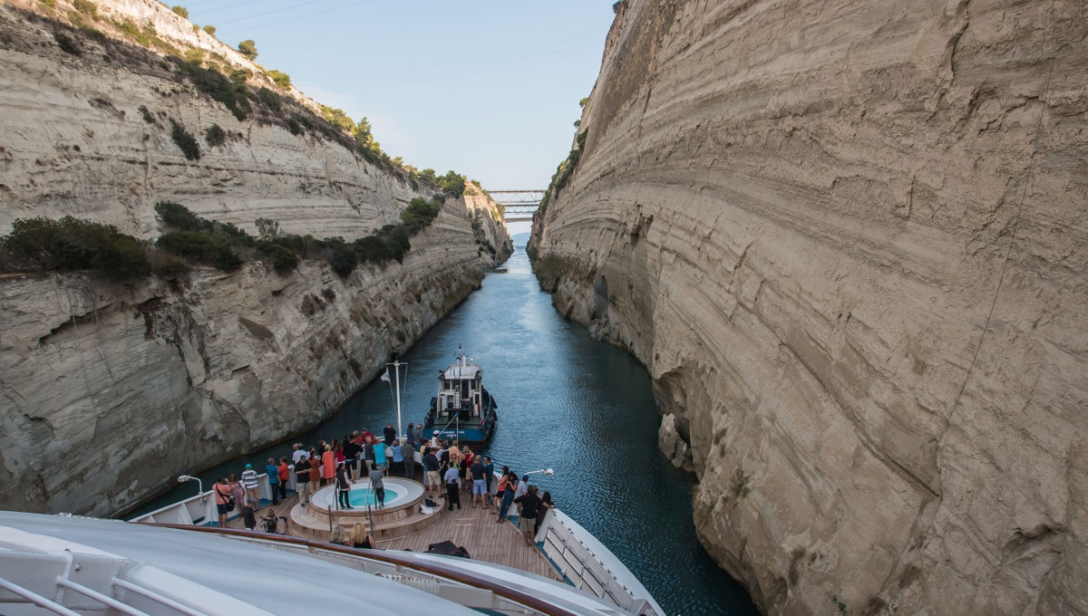 Windstar's Star Breeze in the Corinth Canal - Photo by Gary Bembridge