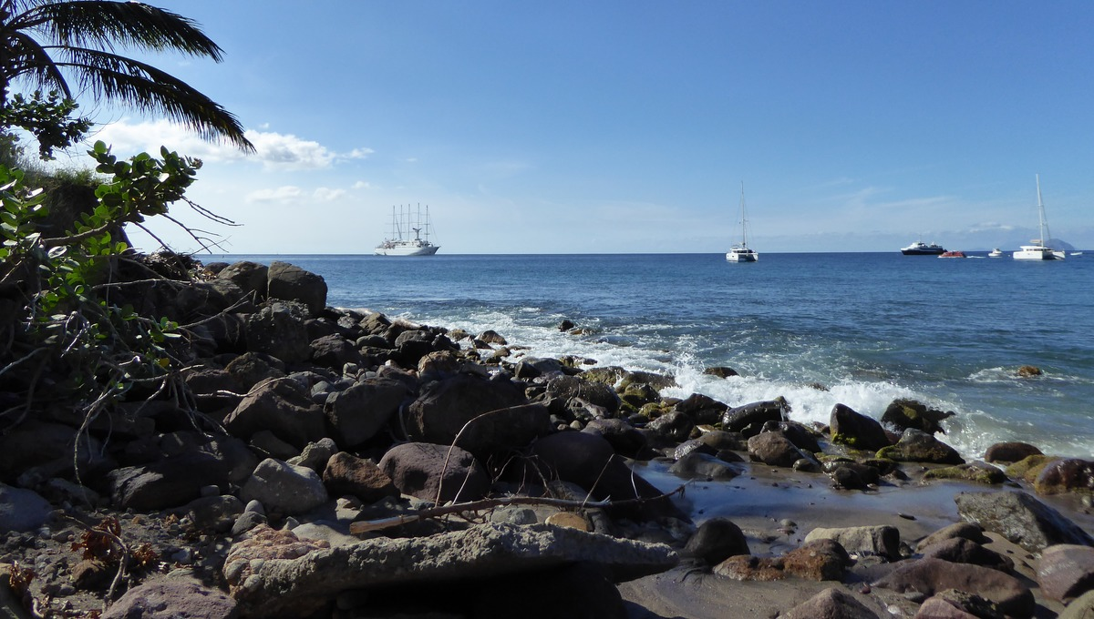 Windstar Cruises - Wind Surf anchored off the Caribbean island of Montserrat