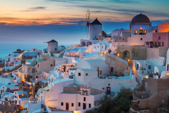 Sunset over Santorini, Greece