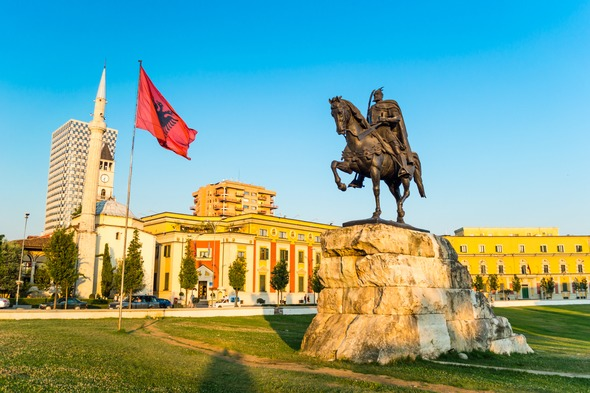 Skanderbeg Square in Tirana, Albania