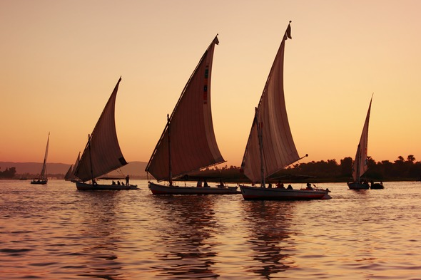 Feluccas on the river Nile, Egypt