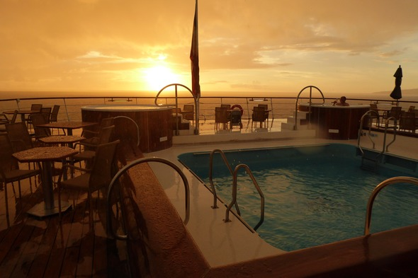 Wind Surf - Sunset on the pool deck in St Kitts