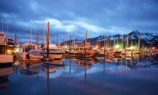 Seward harbour at night