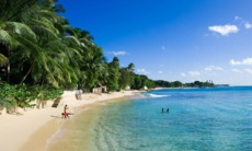 Children on the beach in Barbados