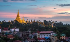Sunset over Yangon, Myanmar