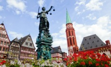 Justitia statue in Frankfurt's old town, Germany