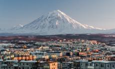 Petropavlovsk-Kamchatsky skyline and volcano