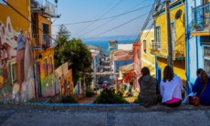 Steep street in Valparaíso, Chile