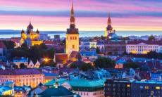 Tallinn old town by night, Estonia