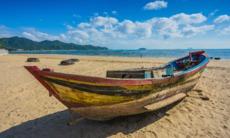Fishing boat on the beach in Nha Trang, Vietnam