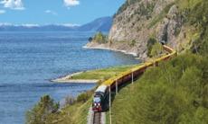 Tsar's Gold Trans-Siberian train on Lake Baikal, Russia